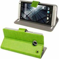Book Tasche Crazy Style für HTC One M7 in grün mit Aufstellfunktion Etui Hülle