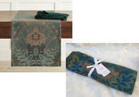 """Williams Sonoma TAPESTRY JACQUARD TABLE RUNNER Cloth Green Floral Leaves 108x16"""""""