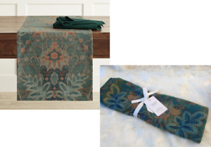 Williams Sonoma TAPESTRY JACQUARD TABLE RUNNER Cloth Green Floral Leaves 108x16""