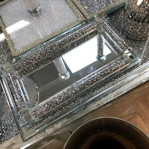 Silver Diamond Crushed Salt & Pepper Shaker Crystal Tray Kitchen Storage Decor N