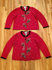His & Hers Pair of UGLY Christmas Cardigan Sweaters by TIARA- Womens Size M & L