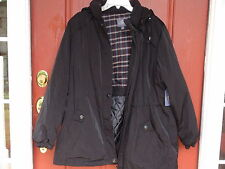 St John's Bay Ladies Zip- Front Winter Jacket size XL Black Solid Hooded