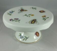 """LOVELY SINGLE CUPCAKE STAND by GRACE'S TEAWARE 4"""" PORCELAIN, BUGS & FLOWERS, NEW"""