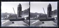 Francia Collioure c1920 Foto Negativo Placca Da Lente Stereo Vintage VrL8n7