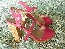 NEU Tamaris Sandalette 37 Myggia Pink Lack Plateausandale Korksohle Wedges Gold