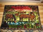 WALL ART VTG 70S? HORSES CARPET RUG RN 19963 MADE IN LEBANON BIG LARGE TAPESTRY