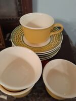9pc Mid Century Cavalier Ironstone Royal China USA Yellow Green saucers usa mugs