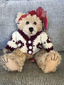 "First & Main Brown Scraggles Teddy Bear Plush Classic W/sweater  11"" Valentine"