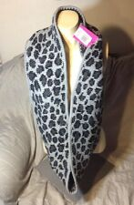 $68 Betsey Johnson Women's Scarf Large Knit Leopard Silver Black Animal Print