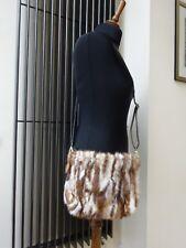 REAL FUR MINK LEATHER Vera Pelliccia HANDMADE HAND BAG Small  Brown Beige White