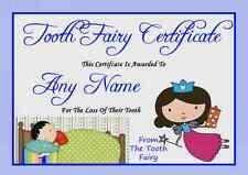 Blue Personalised Tooth Fairy Certificate