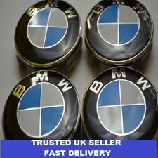 NEW 4 x BMW 68mm CENTRE CAPS ALLOY WHEEL HUB BADGES EMBLEMS CLIPS OEM 1 2 3 4 5