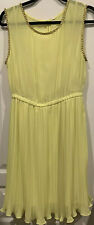 NWOT Willow & Clay Large Sleeveless Yellow Grecian Boutique Dress Gold Trim