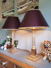Laura Ashley Pair Large Brass Corinthian  Column Lamps Original Coolie Shades