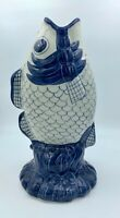 Williams Sonoma Blue & White Koi Fish Vase Pottery