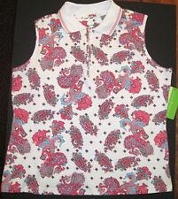 NWT Allyson Whitmore Bogey Golf sleeveless collar shirt pink blue paisley ms XL