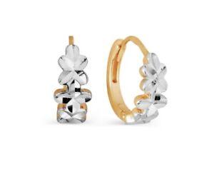 14 Karat 585 Russian Rose White Gold 14ct Hoop Flower Earrings Women Kids