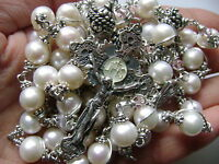 Bali Sterling 925 Silver Beads & Real Pearl CATHOLIC Rosary Cross NECKLACE & Box