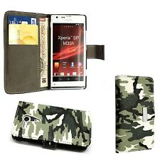 CASE FOR SONY XPERIA SP GREEN BLACK CAMOUFLAGE WALLET FLIP POUCH PHONE COVER