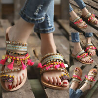 Women Boho Glitter Rhinestone Sandals Summer Holiday Beach Flat Casual Shoes