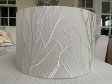 Handmade Lampshade Voyage Rowan Silver Fabric Embroidered Tree Branches Natural