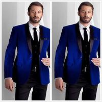 Men Blue Velvet Suit Blazer Groom Tuxedo Wedding Prom Party Dinner Suit Custom