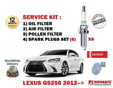FOR LEXUS GS250 2.5 24v 4GR-FSE 2012-> OIL AIR POLLEN 3 FILTER SET + SPARK PLUGS