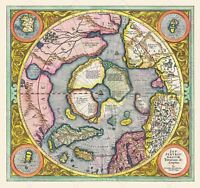 Map 1606 Mercator Hondius Polar Arctic Large Canvas Art Print