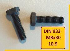 10 Stück Schraube  DIN 933 M8x30 10.9 schwarz  hochfest Sechskant