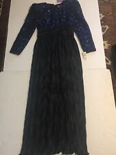 Vtg 80s Sequin Beaded Evening Dress Formal Gown Sz 10 thanks giving party  Prom