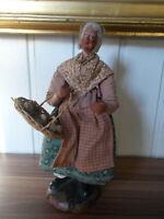 ANCIEN grand SANTON terre cuite 27cm signé MARINACCI France femme fromagère
