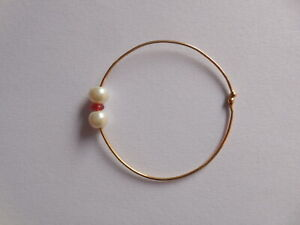 Indian Bridal Pearl Nose Ring Gold Plated Wire Hoop Non Pierced Traditional Nath