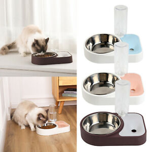 Auto Pet Cat Dog Feeder Water Food and Bowl Set Drinking Dispenser Bottle Dish