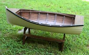 Large 42 Bench Made Nautical Folk Art Shiplap Rowboat Model & Stand NO RESERVE