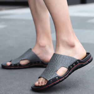 Men Beach Sandals Casual Slip On Slippers Shoes Outdoor Flats Shoe Summer Slides