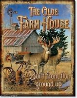 Old Farm House Tin Metal Sign Lodge Cabin Wildlife Picture Poster Wall Art Decor