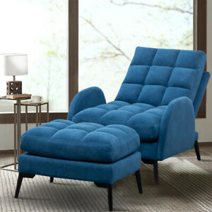 Upholstered Velvet Recliner Sofa Chair Lounger Sleeper Armchair with Footstool
