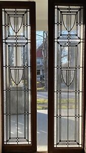 Pair Leaded Textured/flat Glass Sidelights