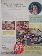 1943 A&P Food Super Market War Time Price Lillian Wilkenloh Original Color Ad