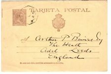 Spain 1896 Postal Card Granada to Leeds UK