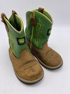 John Deere Cowboy Boots Boys Toddler Size 8 M Tan/Green Western Kids JD2186 FLAW