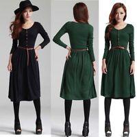 Women's Autumn Winter Belt Knit Long Sleeve Casual Work Party Sweater Slim Dress