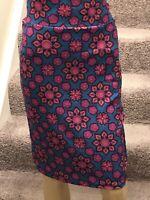 LulaRoe Cassie Pencil Skirt Green/Pink Floral Print Size XL