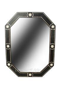 Indian Handmade Hand Painted Teak Wood Bone Inlay Octangle Design Mirror Frame