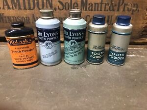 5 SAMPLE TOOTH POWDER TINS DR LYON MCNESS KOLASKA ANTIQUE VINTAGE DENTIST DENTAL