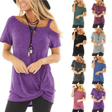 Women Summer Solid T Shirt Tunic Cold-shoulder Short Sleeve Casual Blouse