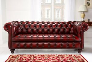 Edwardian Chesterfield sofa hand made couch oxblood red <BRAND NEW>