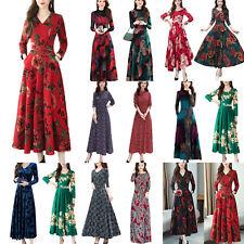 Women's Elegant Long Sleeve Maxi Formal Party Dress Evening Gown Swing Dresses