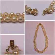 DOPPIO FILO COLLANA DI PERLE ORO 585 CHIUSURA Akoya perle collier di perle 47 cm