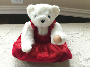 Authentic Vermont Teddy Bear White Red Dress Fully Jointed Bear Plush 16''